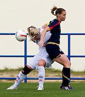 Christie Rampone, Margret Lara Vidarsdottir.  The USWNT defeated Iceland, 1-0, at Ferreiras, Portugal.
