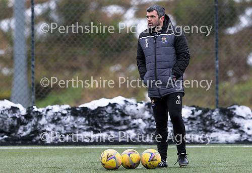 St Johnstone Training...   29.01.21<br />Manager Callum Davidson watches a training session at McDiarmid Park this morning ahead of tomorrows game at Kilmarnock.<br />Picture by Graeme Hart.<br />Copyright Perthshire Picture Agency<br />Tel: 01738 623350  Mobile: 07990 594431