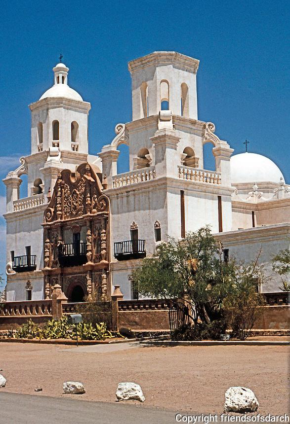 AZ: Tucson--San Xavier Del Bac, 3/4 elevation, 1783.  Photo '96.