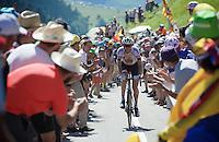 Laurens ten Dam (NLD/Giant-Alpecin) crossing the last mountain of the day; the Col de Peyresourde (1569m/7.1km at 7.8%)<br /> <br /> stage 8: Pau - Bagnères-de-Luchon, 184km<br /> 103rd Tour de France 2016