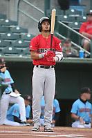 Ezequiel Tovar (5) of the Fresno Grizzlies bats against the Inland Empire 66ers at San Manuel Stadium on May 25, 2021 in San Bernardino, California. (Larry Goren/Four Seam Images)