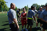 "Anthony Bonarti, coordinator of ""Saber Strike"" NATO exercises, coaches the American soldiers during a day off for cultural activities, which included sports games between the different participating armies in the NATO ""Saber Strike"" military exercises, in Drawsko Pomorskie, Poland on June 13, 2015.  NATO is engaged in a multilateral training exercise ""Saber Strike,"" the first time Poland has hosted such war games, involving the militaries of Canada, Denmark, Germany, Poland, and the United States."