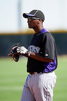 Colorado Rockies minor league infielder Correlle Prime #55 during an instructional league game against the San Francisco Giants at the Salt River Flats Complex on October 4, 2012 in Scottsdale, Arizona.  (Mike Janes/Four Seam Images)