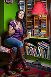 NEW YORK  --  MARCH 25, 2011:   Lila Downs poses for a portrait at home on March 25, 2011 in New York City.   (Photo by Michael Nagle)