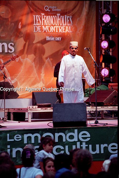 Quebec  (QC) CANADA -  August 1999 file photo - Francofolies outdoor concert<br /> <br /> Francofolies  1999 - spectacle exterieur<br /> <br /> PHOTO :  Agence Quebec Presse