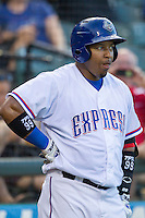 Round Rock Express designated hitter Manny Ramirez (99) on deck against the Iowa Cubs in the Pacific Coast League baseball game on July 21, 2013 at the Dell Diamond in Round Rock, Texas. Round Rock defeated Iowa 3-0. (Andrew Woolley/Four Seam Images)