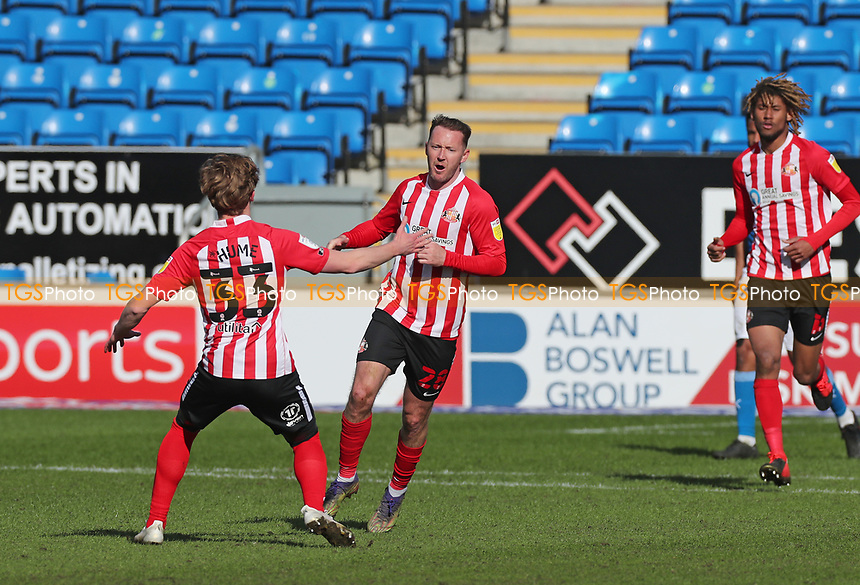 Sunderland's Aiden McGeady celebrates scoring the equalising goal   during Peterborough United vs Sunderland AFC, Sky Bet EFL League 1 Football at London Road on 5th April 2021