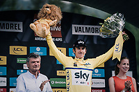 new yellow jersey / GC leader Geraint Thomas (GBR/SKY) on the podium<br /> <br /> Stage 5: Grenoble > Valmorel (130km)<br /> 70th Critérium du Dauphiné 2018 (2.UWT)
