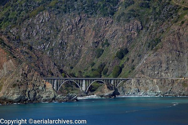 aerial photograph of Big Creek Bridge, Big Sur, Monterey County, California