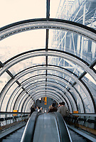 Renzo Piano and Richard Rogers: Centre Pompidou, Paris. Inside escalator tube. Locally Centre is known as Beaubourg.