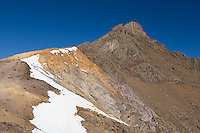"""Wetterhorn from the southeast ridge.  The """"yellow band"""" is clearly visible."""