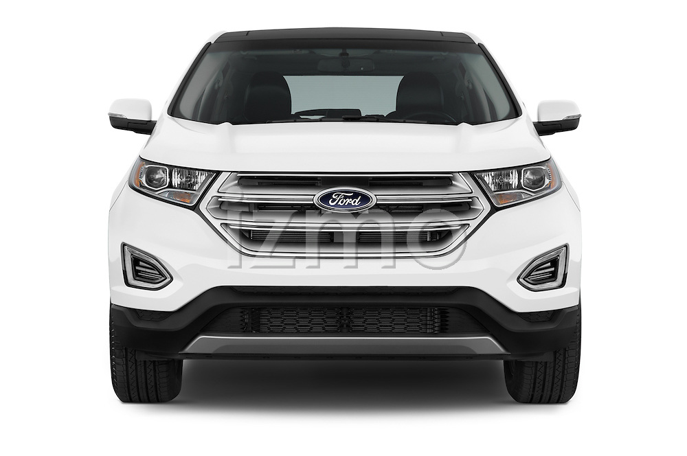 Car photography straight front view of a 2015 Ford Edge Titanium 5 Door SUV Front View