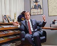 Brandon Tartikoff, President of NBC (1980-1991), in his office at NBC Studios, Burbank, 1984. Photo by John G. Zimmerman