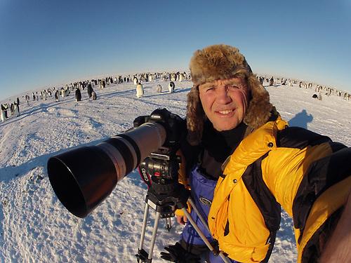 Doug Allan at an Emperor penguin colony