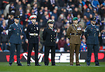 Members of the armed forces on the pitch