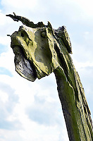 Holzkopf: EUROPA, DEUTSCHLAND, NIEDERSACHSEN, (GERMANY), 09.09.2004: Holzkopf eines Perdes,  aussen, Aussenaufnahme, Aussenaufnahmen, close, close-up, close-ups, closeup, closeups, Detail, Details, draussen, Fetisch, Fetische, Form, Formen, geformt, geformte, geformter, geformtes, Himmel, hoelzern, hoelzerne, hoelzerner, hoelzernes, Holz, Koepfe, Kopf, Kultur, kulturell, kulturelle, kultureller, kulturelles, Kulturen, menschenleer, Nahaufnahme, Nahaufnahmen, Natur, niemand, Pferd, Pferdekopf, Tag Tage, Tageslicht, tagsueber, Totem, Totempfahl, up, ups, Wappenpfaehle, Wappenpfahl, Kunst, Wikinger,