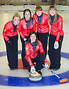 The womens Team GB Winter Olympic Curling Teams 2014.  Eve Muirhead (skip) with her team (l to r)  Anna Sloan, Vicki Adams, Claire Hamilton, Lauren Gray.
