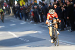 Vincenzo Nibali (ITA) Bahrain-Merida out front alone on the run into Sanremo during the 109th edition of Milan-Sanremo 2018 running 294km from Milan to Sanremo, Italy. 17th March 2018.<br /> Picture: LaPresse/POOL Luca Bettini | Cyclefile<br /> <br /> <br /> All photos usage must carry mandatory copyright credit (© Cyclefile | LaPresse/POOL Luca Bettini)