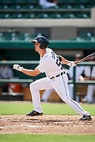 Detroit Tigers Luke Burch (58) follows through on a swing during a Florida Instructional League game against the Pittsburgh Pirates on October 6, 2018 at Joker Marchant Stadium in Lakeland, Florida.  (Mike Janes/Four Seam Images)