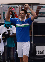 MIAMI GARDENS, FL - APRIL 04: Hubert Hurkacz reacts after defeating Jannik Sinner 7-6 (7-4) 6-4 during the Men's finals at the 2021Miami Open at Hard Rock Stadium on April 4, 2021 in Miami Gardens, Florida. Credit: mpi04/MediaPunch
