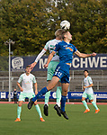 11.10.2020, Marschwegstadion, Oldenburg, GER, RL Nord, Gruppe Süd, VfB Oldenburg vs SV Werder Bremen u23,  DFL regulations prohibit any use of photographs as image sequences and/or quasi-video, im Bild<br /> Marten-Heiko SCHMIDT (VfB Oldenburg #13 ) Julian RIECKMANN (SV Werder Bremen U23 #33 )<br /> <br /> Foto © nordphoto / Rojahn