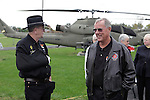 Pilots Stan Nash, left, and Chuck Kenny during the rededication ceremony of the 1st Squadron, 9th Cavalry monument at Motts Military Museum in Groveport, Ohio.