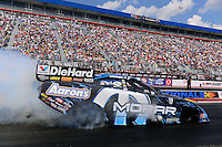 Sept. 15, 2012; Concord, NC, USA: NHRA funny car driver Matt Hagan during qualifying for the O'Reilly Auto Parts Nationals at zMax Dragway. Mandatory Credit: Mark J. Rebilas-