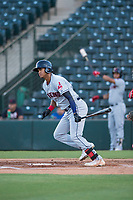 AZL Indians 2 right fielder Jhon Torres (22) follows through on his swing during an Arizona League game against the AZL Angels at Tempe Diablo Stadium on June 30, 2018 in Tempe, Arizona. The AZL Indians 2 defeated the AZL Angels by a score of 13-8. (Zachary Lucy/Four Seam Images)