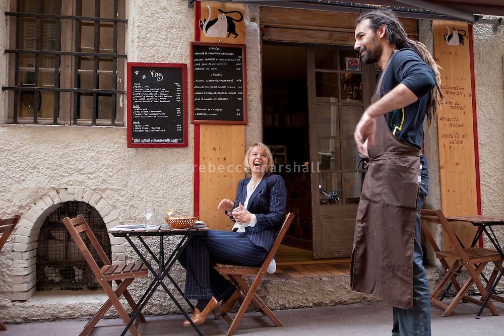 Nicolas Sikic, chef, taks to a diner at restaurant 'Chat Noir, Chat Blanc', Nice, France, 10 April 2012