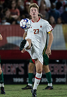 COLLEGE PARK, MD - SEPTEMBER 3: Maryland University midfielder Griffin Dillon (27) clears upfield during a game between George Mason University and University of Maryland at Ludwig Field on September 3, 2021 in College Park, Maryland.