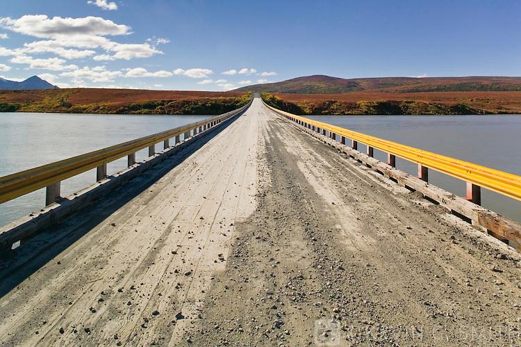 Denali Highway bridge over the Susitna river, fall, Alaska, USA.