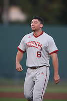 Sam Travis #6 of the Indiana Hoosiers during a game against the Long Beach State Dirtbags at Blair Field on March 14, 2014 in Long Beach, California. Long Beach State defeated Indiana 4-3. (Larry Goren/Four Seam Images)