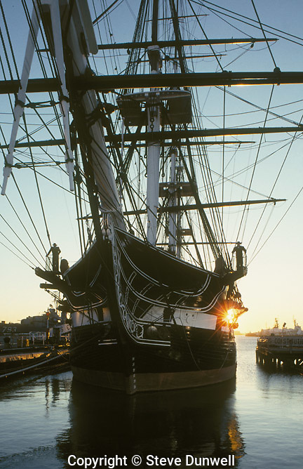 USS Constitution, Charlestown, MA Old Ironsides, sunrise silhouette