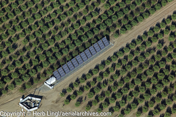 aerial photograph of a solar panel installation in an orchard in the Central Valley of California