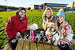 Cillian Foale, Karyn Moriarty and Sarah Foale and Coco the dog enjoying a coffee at the Tralee Wetlands on Sunday.