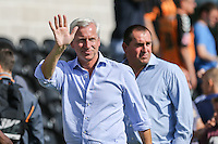 Alan Pardew (Manager) of Crystal Palace waves to the travelling fans after the Friendly match between Barnet and Crystal Palace at The Hive, London, England on 11 July 2015. Photo by David Horn.