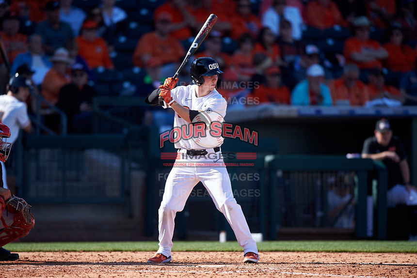 Oregon State Beavers Kyler McMahan (1) at bat during an NCAA game against the New Mexico Lobos at Surprise Stadium on February 14, 2020 in Surprise, Arizona. (Zachary Lucy / Four Seam Images)