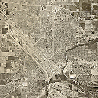 historical aerial photograph Modesto, Stanislaus County, California, 1967