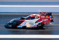 Nov 1, 2020; Las Vegas, Nevada, USA; NHRA funny car driver Tommy Johnson Jr during the NHRA Finals at The Strip at Las Vegas Motor Speedway. Mandatory Credit: Mark J. Rebilas-USA TODAY Sports