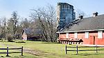 Farm in winter, Red Barn, Fort Steilacoom County Park, Lakewood, WA.  Barn in field with winter landscape.