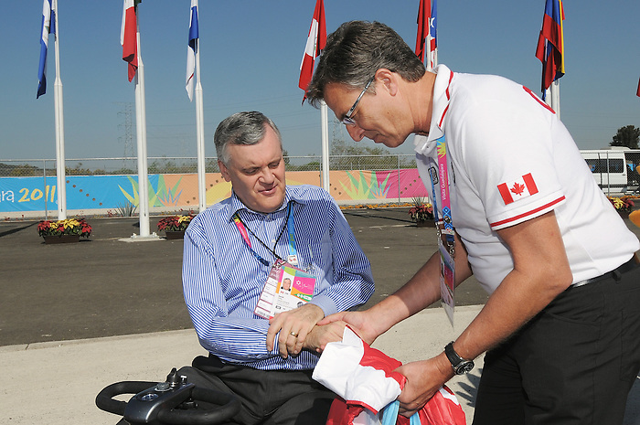 Henry Storgaard and David Onley, Guadalajara 2011.<br /> Highlights from a VIP visit to the Athletes Village // Faits saillants d'une visite VIP au Village des athlètes. 11/18/2011.