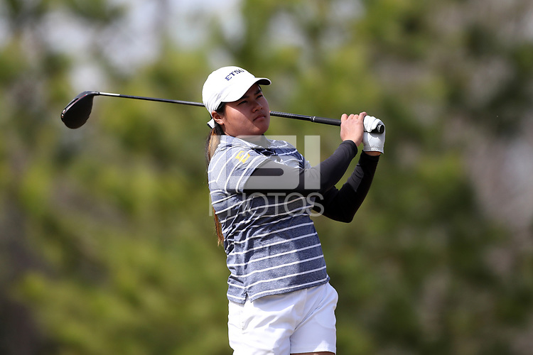 WALLACE, NC - MARCH 09: Kornbongkoat Sararat of East Tennessee State University tees off on the 14th hole of the River Course at River Landing Country Club on March 09, 2020 in Wallace, North Carolina.
