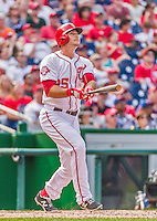 30 August 2015: Washington Nationals first baseman Clint Robinson watches the ball trajectory after pinch hitting a two-run homer in the 6th inning against the Miami Marlins at Nationals Park in Washington, DC. The Nationals rallied to defeat the Marlins 7-4 in the third game of their 3-game weekend series. Mandatory Credit: Ed Wolfstein Photo *** RAW (NEF) Image File Available ***
