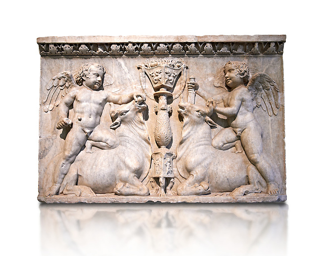 Roman marble sculptured relief with cupids about to sacrifice bulls, from the Temple of Venus Genetrix in the Forum of Caesar Rome 30 AD , inv 6718 Farnese Collection, Naples Archaeological Museum