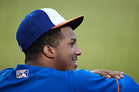 Wander Franco (5) of the Durham Bulls during the game against the Jacksonville Jumbo Shrimp at Durham Bulls Athletic Park on May 15, 2021 in Durham, North Carolina. (Brian Westerholt/Four Seam Images)