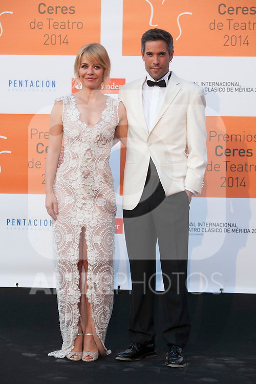 Actress Maria Adanez and Unax Ugalde poses for the photographers during 2014 Theater Ceres Awards photocall at Merida, Spain. August 28, 2014. (ALTERPHOTOS/Victor Blanco)