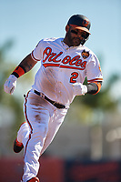 Baltimore Orioles second baseman Jonathan Villar (2) runs the bases during a Grapefruit League Spring Training game against the Detroit Tigers on March 3, 2019 at Ed Smith Stadium in Sarasota, Florida.  Baltimore defeated Detroit 7-5.  (Mike Janes/Four Seam Images)