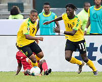 PHILADELPHIA, PA - JUNE 30: Leon Bailey #7 and Shamar Nicholson #11 go for the ball during a game between Panama and Jamaica at Lincoln Financial FIeld on June 30, 2019 in Philadelphia, Pennsylvania.