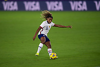 ORLANDO CITY, FL - FEBRUARY 18: Catarina Macario #11 fakes a shot during a game between Canada and USWNT at Exploria stadium on February 18, 2021 in Orlando City, Florida.