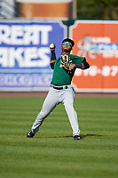 Clinton LumberKings center fielder Anthony Jimenez (5) during practice before a game against the West Michigan Whitecaps on May 3, 2017 at Fifth Third Ballpark in Comstock Park, Michigan.  West Michigan defeated Clinton 3-2.  (Mike Janes/Four Seam Images)